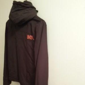 Superdry Double Label Black Hooded Jacket Coat